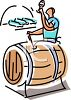 Wine Tester Taking a Sample from a Barrel clipart