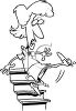 Black and White Cartoon of a Woman Falling Down Stairs clipart