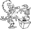 Black and White Cartoon of a Blender Exploding on a Woman clipart