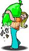 Girl Carrying a Bag of Trash with a Hole in the Bottom clipart