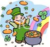 Lucky Leprechaun with a Pot of Gold clipart