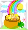 Watercolor of a Pot of Gold at the End of a Rainbow clipart