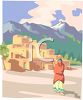 Desert Indian Pueblo at the Foot of a Mountain Range clipart