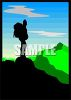 Silhouette of a Man Standing on a Mountain Peak clipart