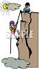 Cartoon of aTwo Boys Rock Climbing clipart