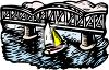 Sailboat Going Under a Bridge clipart