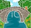 Stone Arch Bridge Spanning a Stream clipart
