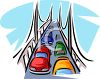 Cars Driving Over a Bridge clipart
