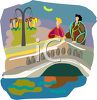 People Standing on an Arch Bridge clipart