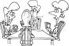 Black and White Cartoon of a Bunch of Ladies Playing a Game of Bridge clipart