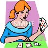 Woman Playing Solitaire clipart