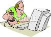 Man Playing a Game on a Computer clipart
