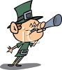 Leprechaun Blowing a Horn clipart