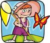 Little Girl Catching Butterflies clipart