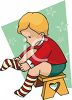 Toddler Putting on His Socks clipart