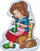 Little Girl Knitting with Her Teddy Bear clipart