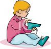 Little Child Putting on His Shoes clipart