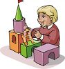 Child Building a Castle From Wooden Blocks clipart