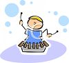 Little Kid Playing a Xylophone clipart