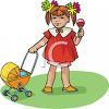 Little Girl Playing with Her Dolly Carriage clipart