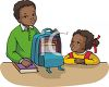 African American Boy Packing His Backpack While His Little Sister Watches clipart