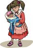 Little Girl Playing with Her Baby Doll clipart