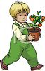 Little Boy Learning About Gardening clipart