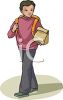Schoolboy Walking to School with His Sack Lunch clipart