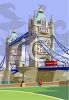 People on Vacation Visiting the London Bridge clipart