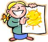 Proud Girl Holding Up the Sun Picture She Drew clipart