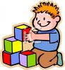 Red Haired Boy Playing with Blocks clipart