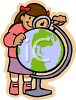 Schoolgirl Looking at a Globe with a Magnifying Lens clipart