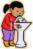 Little Black Girl Drinking at a School Fountain clipart