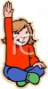 Child Raising Her Hand in Class clipart