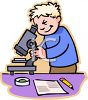 Boy Using a Microscope in Class clipart