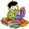 Asian Elementary Student Reading a Book clipart