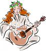 Woman With Flowers in Her Hair Playing the Guitar clipart