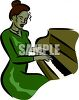 African American Woman Playing the Piano clipart