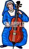Nun Playing a Cello clipart