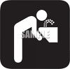 Black and White Water Icon-Person Drinking from a Fountain with Black Background clipart