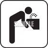 Black and White Water Icon-Person Drinking From a Fountain with White Background clipart