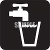 Black and White Water Icon-Faucet with a Glass of Water clipart