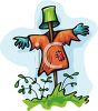 Scarecrow with a Bucket for a Head clipart