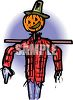 Happy Pumpkin Headed Scarecrow Wearing Men's Clothes clipart