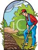 Man Digging in Soil clipart