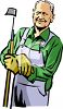 Old Farmer Holding a Hoe clipart