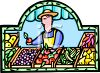 Farmer Selling His Produce  clipart