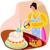 Woman Icing a Cake with an Icing Extruder clipart