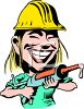 Female Handyman Using a Caulking Gun clipart