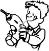 Man Holding a Power Drill clipart